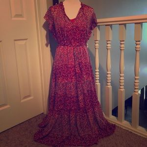 GAP Size M Red Floral Peasant Dress